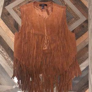 Brown Fringe Vest